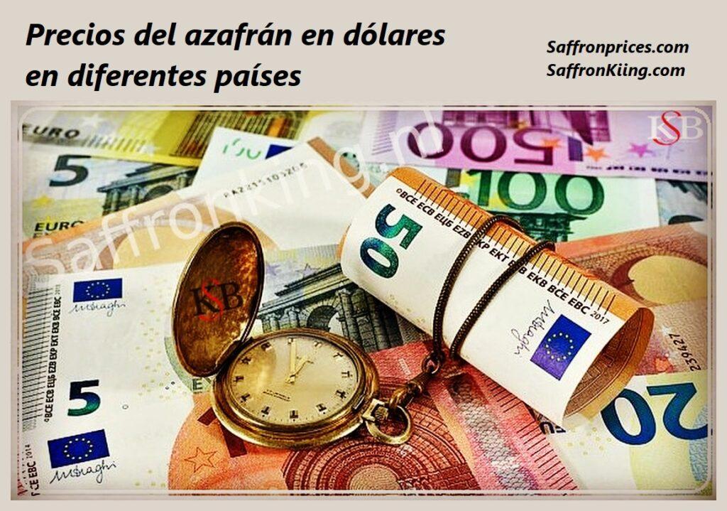 Precios del azafrán en dólares en diferentes países